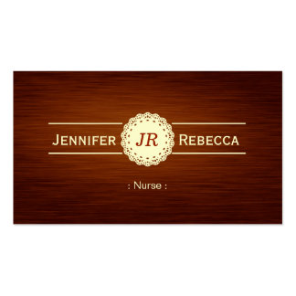 Nurse - Wood Grain Monogram Double-Sided Standard Business Cards (Pack Of 100)