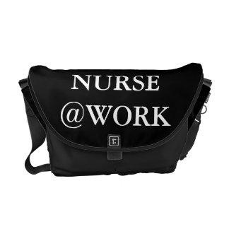 Nurse @Work Funny Black White Messenger Bag