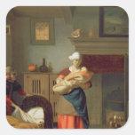 Nursemaid con el bebé en un interior pegatina cuadrada