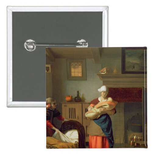 Nursemaid con el bebé en un interior pin cuadrado