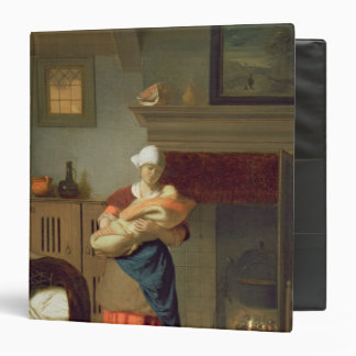 Nursemaid with baby in an interior binder