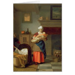 Nursemaid with baby in an interior card
