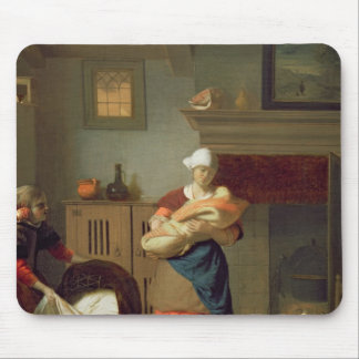 Nursemaid with baby in an interior mouse pad