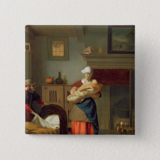 Nursemaid with baby in an interior pinback button