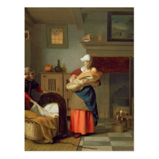 Nursemaid with baby in an interior postcard