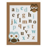 Nursery alphabet baby boy owl art poster