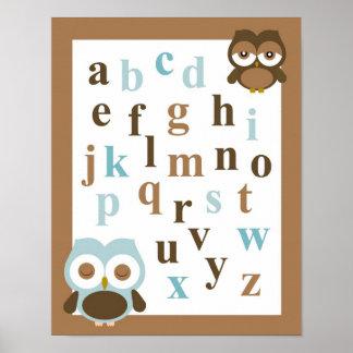 Nursery alphabet baby boy owl art poster