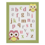 Nursery alphabet baby girl owl wall art