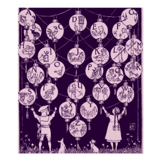 Nursery Alphabet Lanterns Vintage Poster