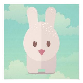 Nursery Art Cute Animal Decor Bunny Illustration 5.25x5.25 Square Paper Invitation Card