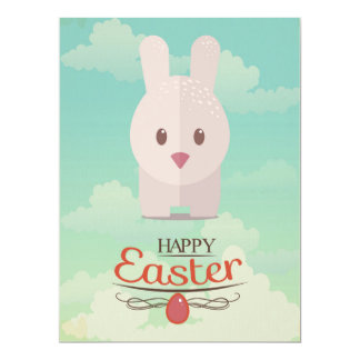 Nursery Art Cute Animal Decor Bunny Illustration 6.5x8.75 Paper Invitation Card