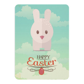 Nursery Art Cute Animal Decor Bunny Illustration 4.5x6.25 Paper Invitation Card