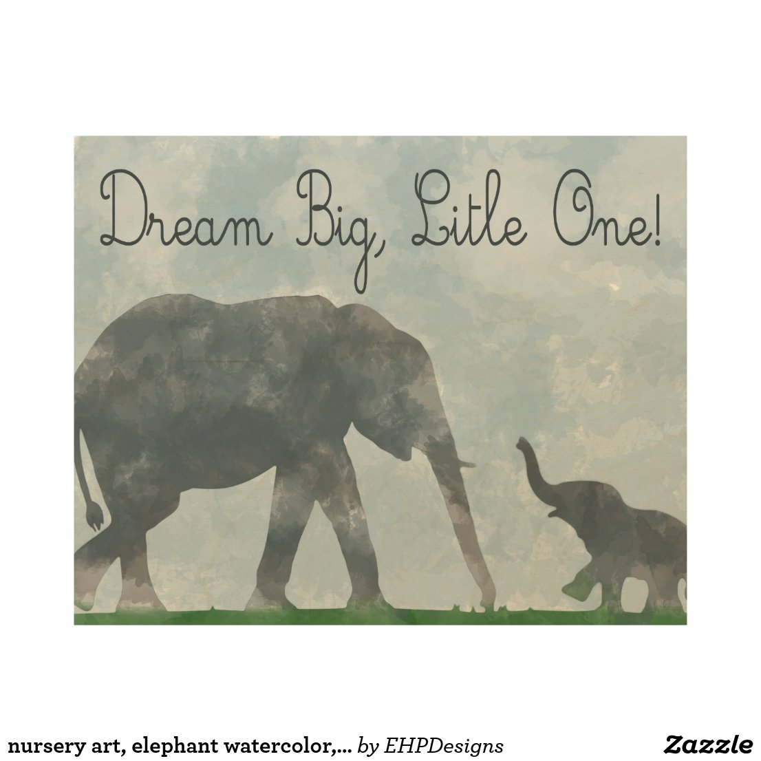 nursery art, elephant watercolor, dreamer wood wall decor