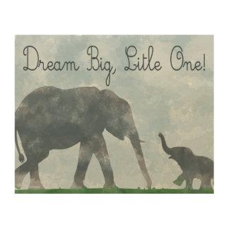 nursery art, elephant watercolor, dreamer wood wall decor