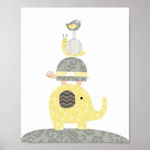 Nursery art illustration elephant bird turtle poster