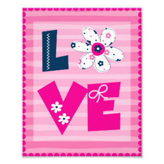 Nursery Art - Love Floral and Pink Stripes Photo Print