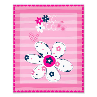 Nursery Art Pink Hearts and Flowers Photo Print
