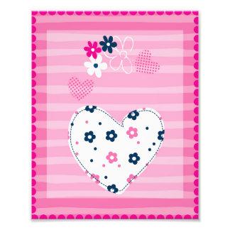 Nursery Art Pink Hearts & Flowers Photo Print
