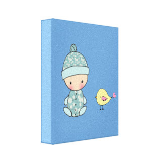 Nursery Art Print Baby and Bird Stretched Canvas Print