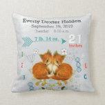Nursery Baby Birth Stat Fox Arrow Pattern Pillows
