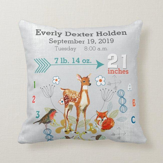 Nursery Baby Birth Stat Fox Deer Floral Arrow Throw Pillow