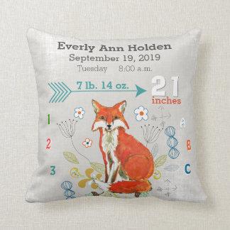 Nursery Baby Birth Stats Fox Warm Gray Pillow