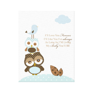 Nursery baby boy art- I will love you forever Canvas Print