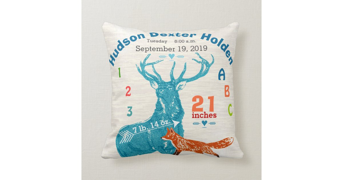 Throw Pillow For Nursery : Nursery Baby Boy Birth Stat Fox Deer Arrow Throw Pillow Zazzle.com