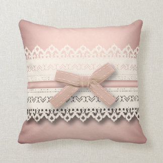 nursery baby girl kawaii lace princess pink bow throw pillow