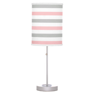 Nursery Baby Girl Pink and Gray Wide Stripes Table Lamp