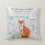 Nursery Birth Record  Fox Cool Gray Hipster Baby Pillow