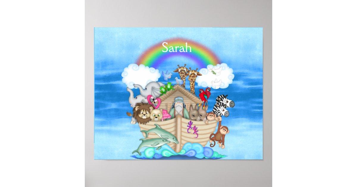 Nursery custom noahs ark rainbow mural poster zazzle for Poster mural intisse