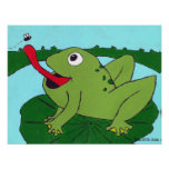Nursery Decor, Frog catching fly, Hand Drawn Poster