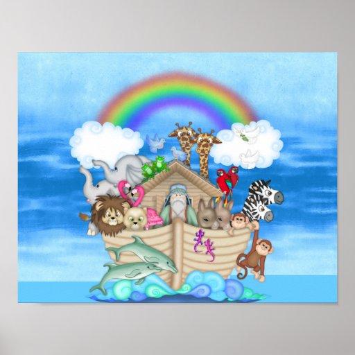 NURSERY DECORATION  Noahs Ark  RAINBOW MURAL Poster