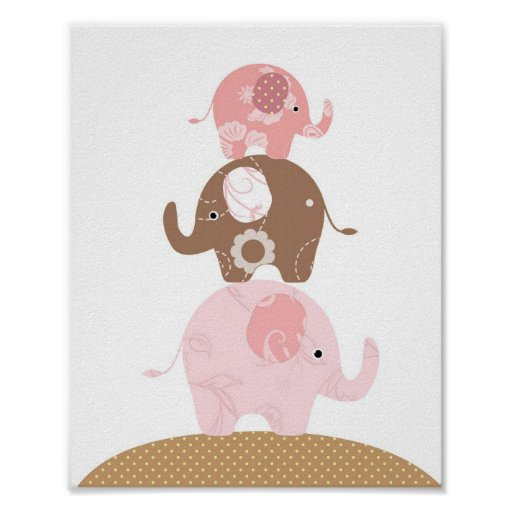 Nursery elephant art girls poster