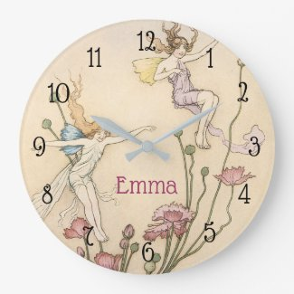 Nursery Fairy And Name Large Clock