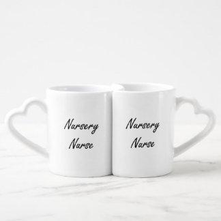 Nursery Nurse Artistic Job Design Couples' Coffee Mug Set