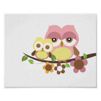 Nursery owl art poster