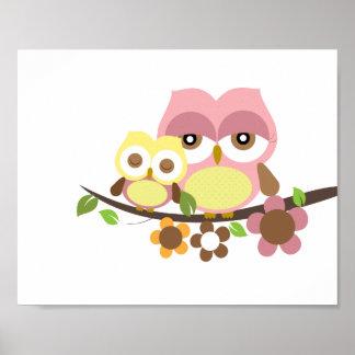 Nursery owl art poster