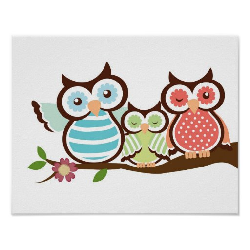 Nursery owl art poster baby with mom dad