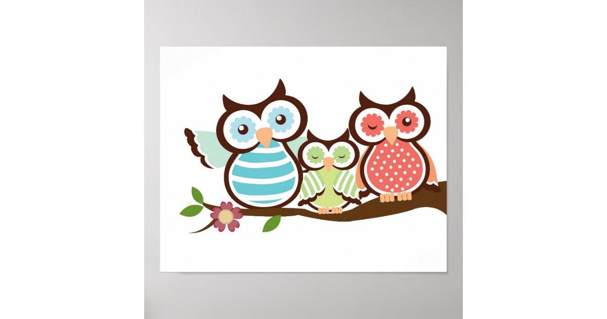 Nursery Owl Art Poster Baby With Mom Dad Zazzle Com
