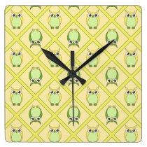 Nursery Owls Wall Clock - Green & Yellow