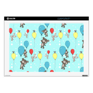 """Nursery pattern with teddy and bunny 17"""" laptop skins"""