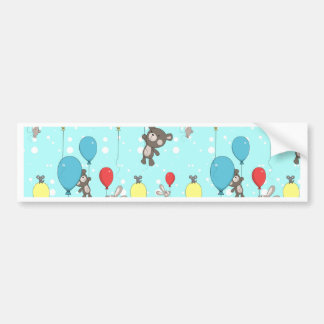 Nursery pattern with teddy and bunny bumper sticker