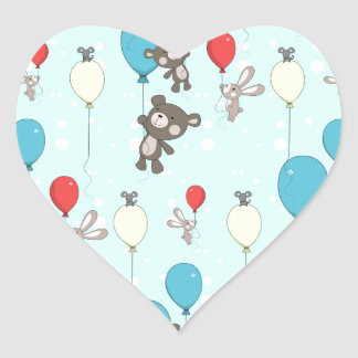 Nursery pattern with teddy and bunny heart sticker