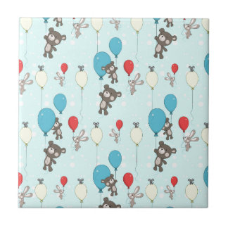 Nursery pattern with teddy and bunny tile