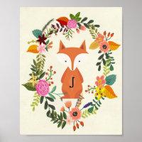 nursery poster monogram fox
