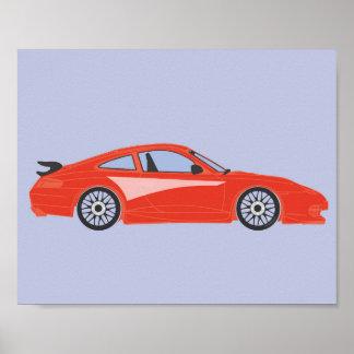 Nursery red cartoon car illustration print