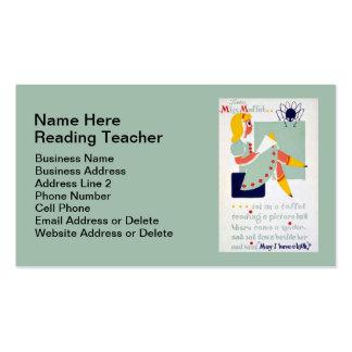 Nursery Rhyme Miss Muffet Reading Teacher Business Card
