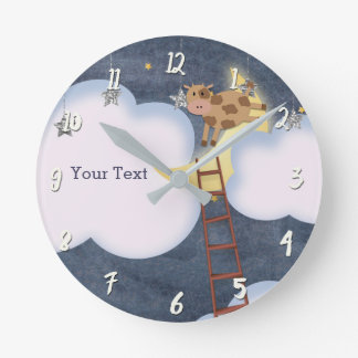 Nursery Rhyme Storybook Cow Jumping over Moon Round Clock